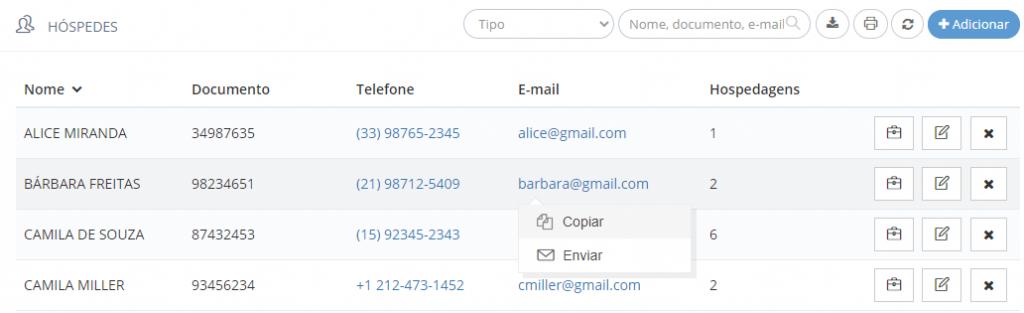 Ações possíveis através do link de e-mail na lista de hóspedes
