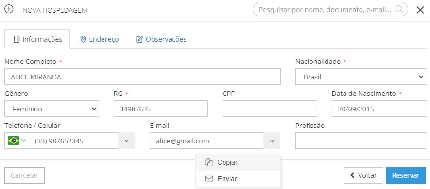 Ações possíveis através do link de e-mail no formulário de hóspede (ao criar uma hospedagem ou editar informações de hóspede dentro de uma reserva já criada)